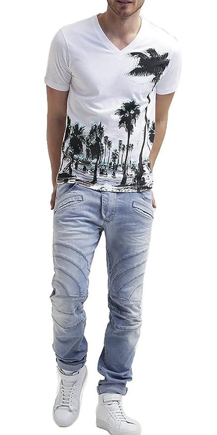 37e5fa99 PIERRE BALMAIN Biker Jeans, Light Blue (36) at Amazon Men's Clothing store: