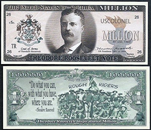 - Theodore / Teddy Roosevelt Million Dollar Note w Rough Riders - Lot of 2 BILLS