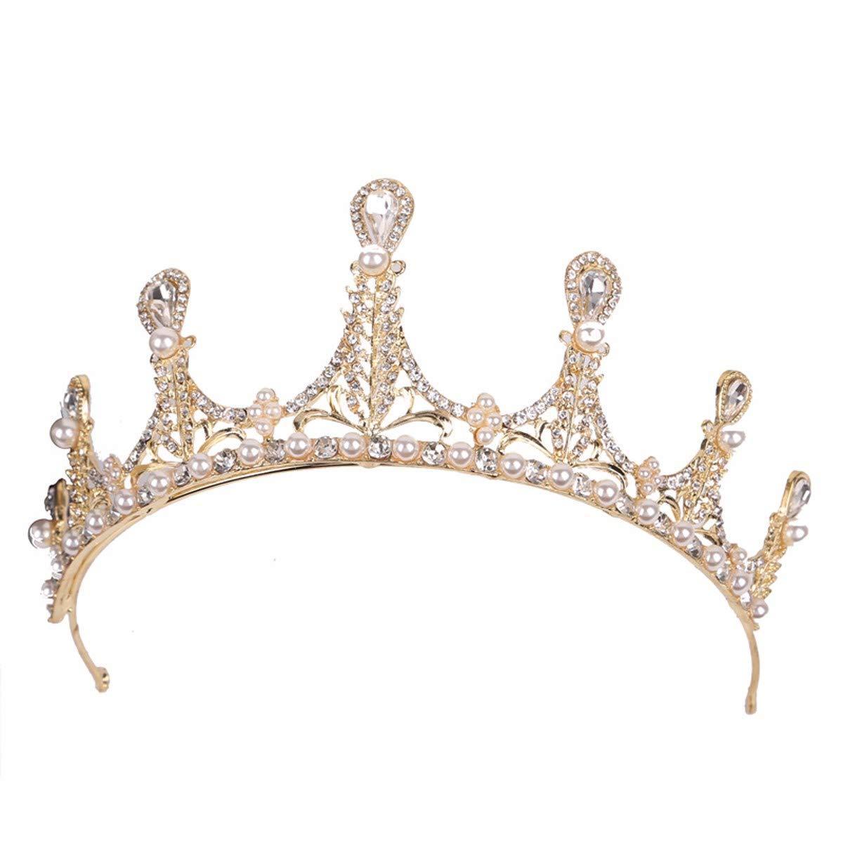 Wedding Crown, Beautiful headdress/Crown Headgear Bridal Gold High-End Air Pearl Crown Hair Accessories Chinese Wedding Accessories