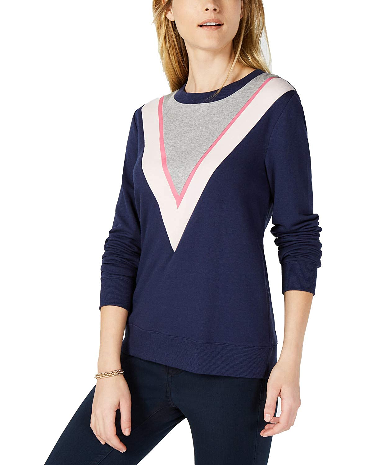 Ladies Colorful 1920s Sweaters and Cardigans History Maison Jules Womens Colorblock Chevron Sweatshirt Blue Notte Combo $17.99 AT vintagedancer.com