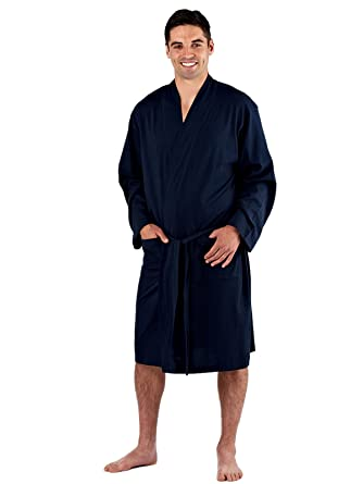 mens 100% Cotton Jersey Wrapover Dressing Gown. Grey or Navy Sizes ...