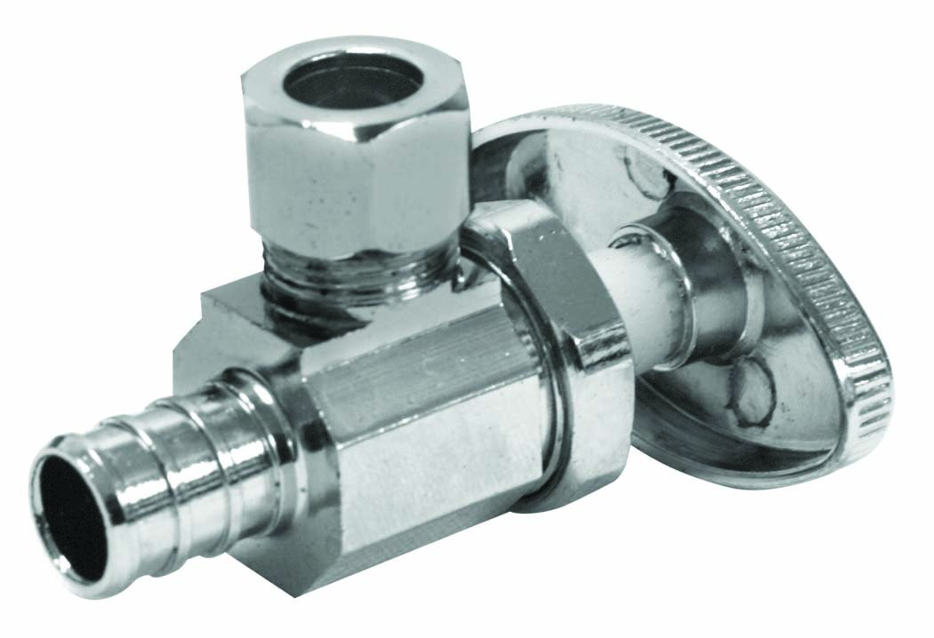 Everflow Supplies 81512PR-NL Premium Lead Free 1//2-Inch Pex x 3//8-Inch OD Compression Quarter Turn Angle Stop Valve