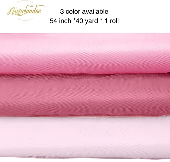Chair Sash Bow Tutu Skirt Sewing Crafting 120 ft DIY Project Fabric Tulle Bolt for Wedding Pink Phantomon 54 by 40 Yards Gift Ribbon Decoration