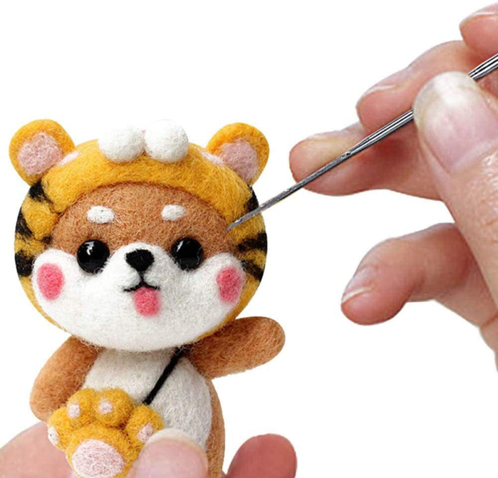 Cute Animal Needle Felting As Gift 4 PCS Needle Felting Starters Kit Decorations DIY Needle Felting Tool Kits with Instructions for Beginners Compact Wool Felting Supplies for Arts /& Crafts