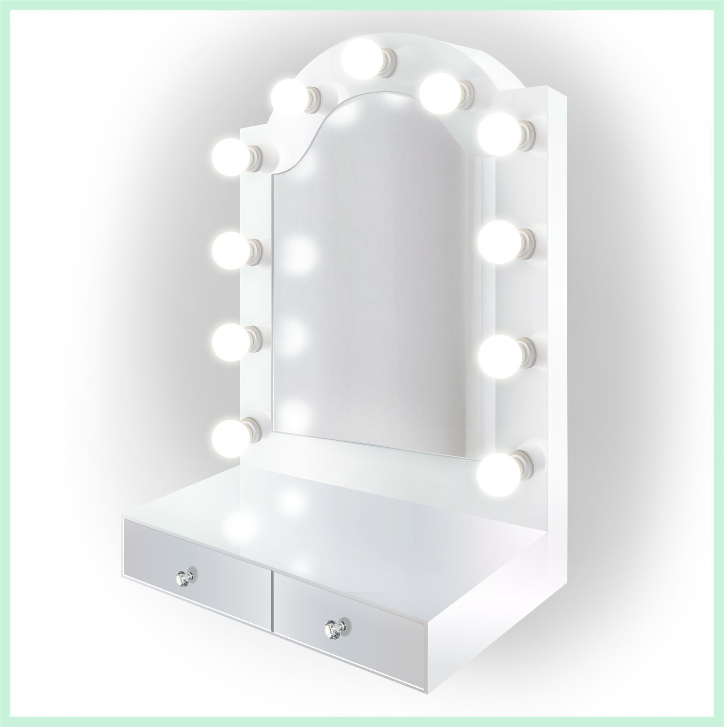 25 inch x 31 inch Lighted Hollywood Arch Vanity Mirror | Makeup Mirror With Storage| Table Top Or Wall Mount | Plug-in