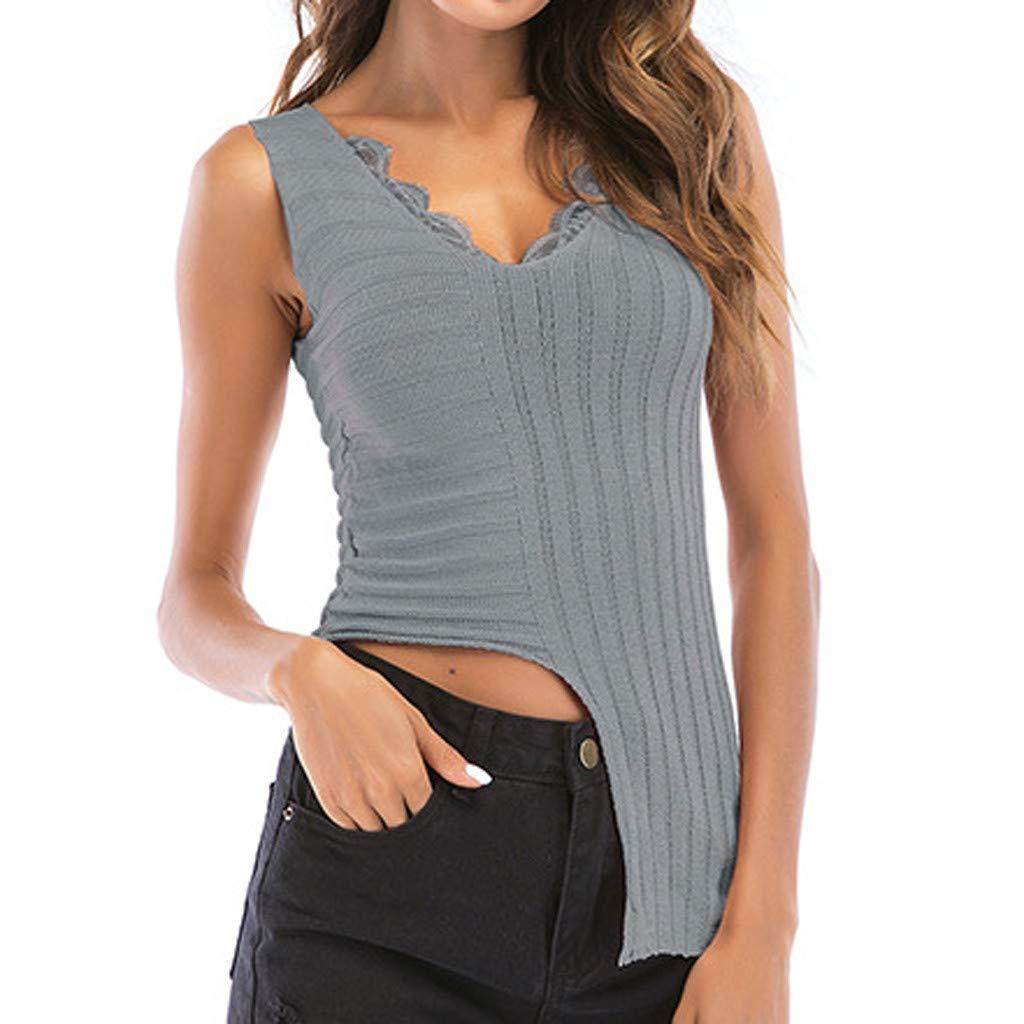 Womens Tank Tops V-Neck Lace Irregular Hem Sleeveless Vest Hook Flower Hollow Shirt (L, Gray)