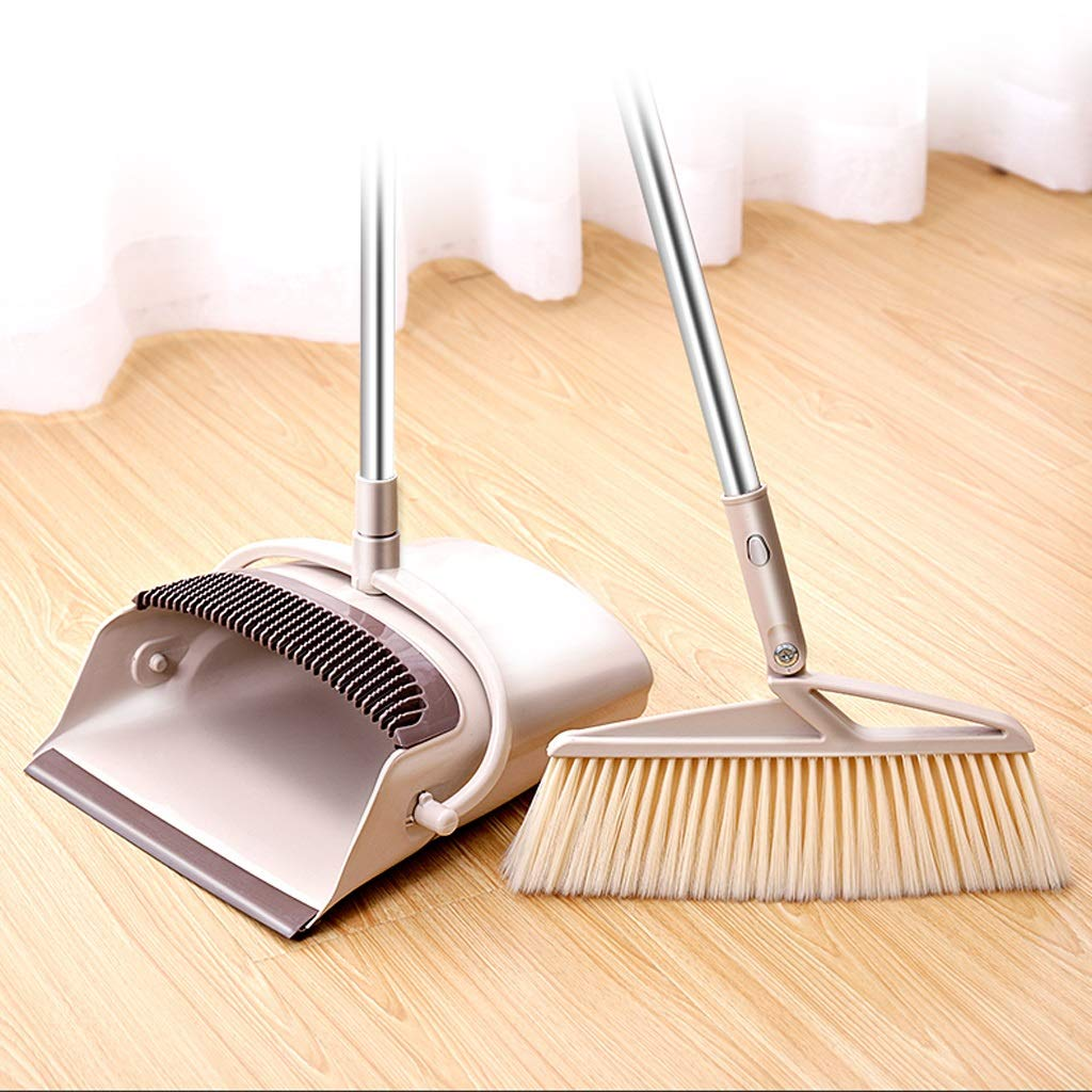 2-piece 30.7-28.7-inch Long Retractable Handle Broom And Dustpan Set - Quick-cleaning Quality Durable Plastic Upright Broom And Dusting Disc Combination. by Broom&Dustpan