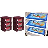 Kuber Industriestm Non Woven Saree Cover/Saree Bag/Storage Bag Set of 6 Pcs (Maroon) 9 Inches Height & Laminated 6 Pieces Reversible Fridge Drawer Mats (Multi) -CTKTC7061 Combo