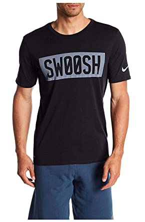 73dc6a7a8141 Nike Mens Dri-Fit Big Swoosh Block Graphic Shirt Black Grey at Amazon Men s  Clothing store