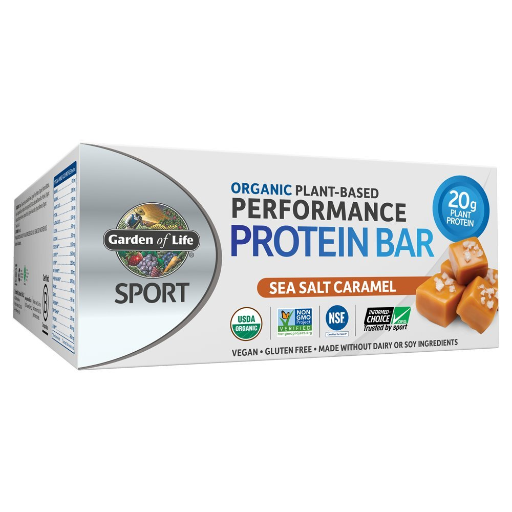Garden of Life Organic Sport Protein Bar, Vegan, Sea Salt Caramel, 12 Count by Garden of Life