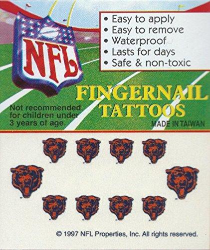 (Chicago Bears Fingernail Tattoos Set of 10 Decal Sticker Licensed NFL)