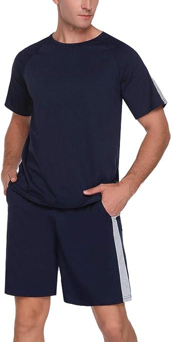 Doaraha Pijama Hombre Algodón Pijamas Cortos/Largos Camiseta y Pantalones Ropa de Dormir Verano Manga Corta/Larga Cuadros Celosía Suave y Cómodo 2 ...