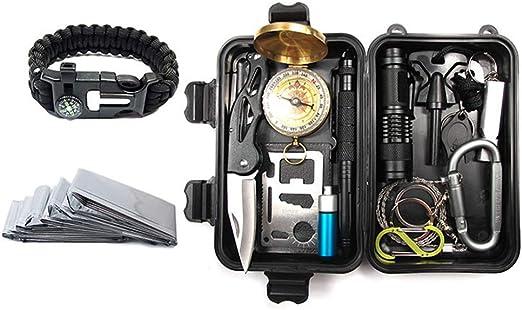 Kit de supervivencia de emergencia KIICN | Juego portátil de herramientas múltiples con caja de regalo para acampar Senderismo Caza Escalada Viajes Aventuras en el desierto: Amazon.es: Hogar