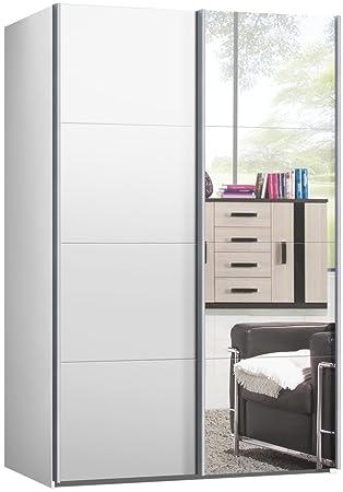 Kleiderschrank weiß mit spiegel  Schwebetürenschrank, Schiebetürenschrank, ca. 150 cm, Weiss mit ...