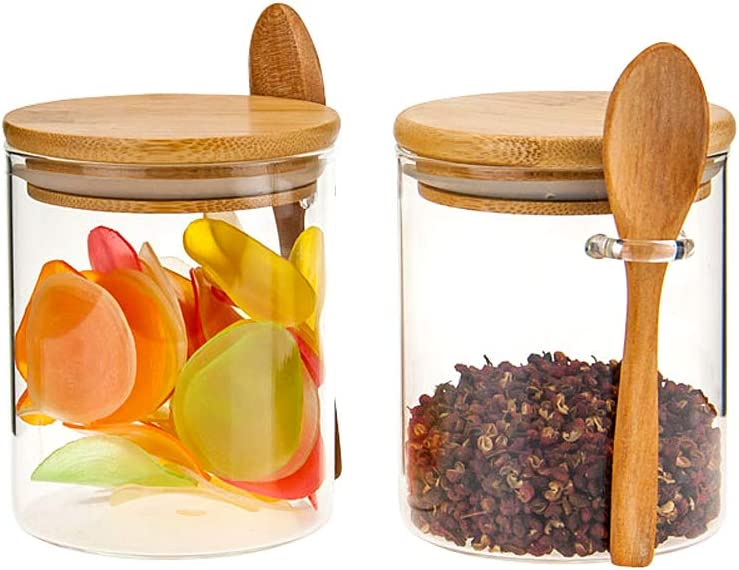 2 Sets 15Oz/450ML/1Lb Clear Glass Containers for Pantry with Wooden Spoon, Small Air Tight Food Storage Canister with Bamboo Airtight Lid, Hermetic Covered Kitchen Orgainzation Storage Jars with Scoop