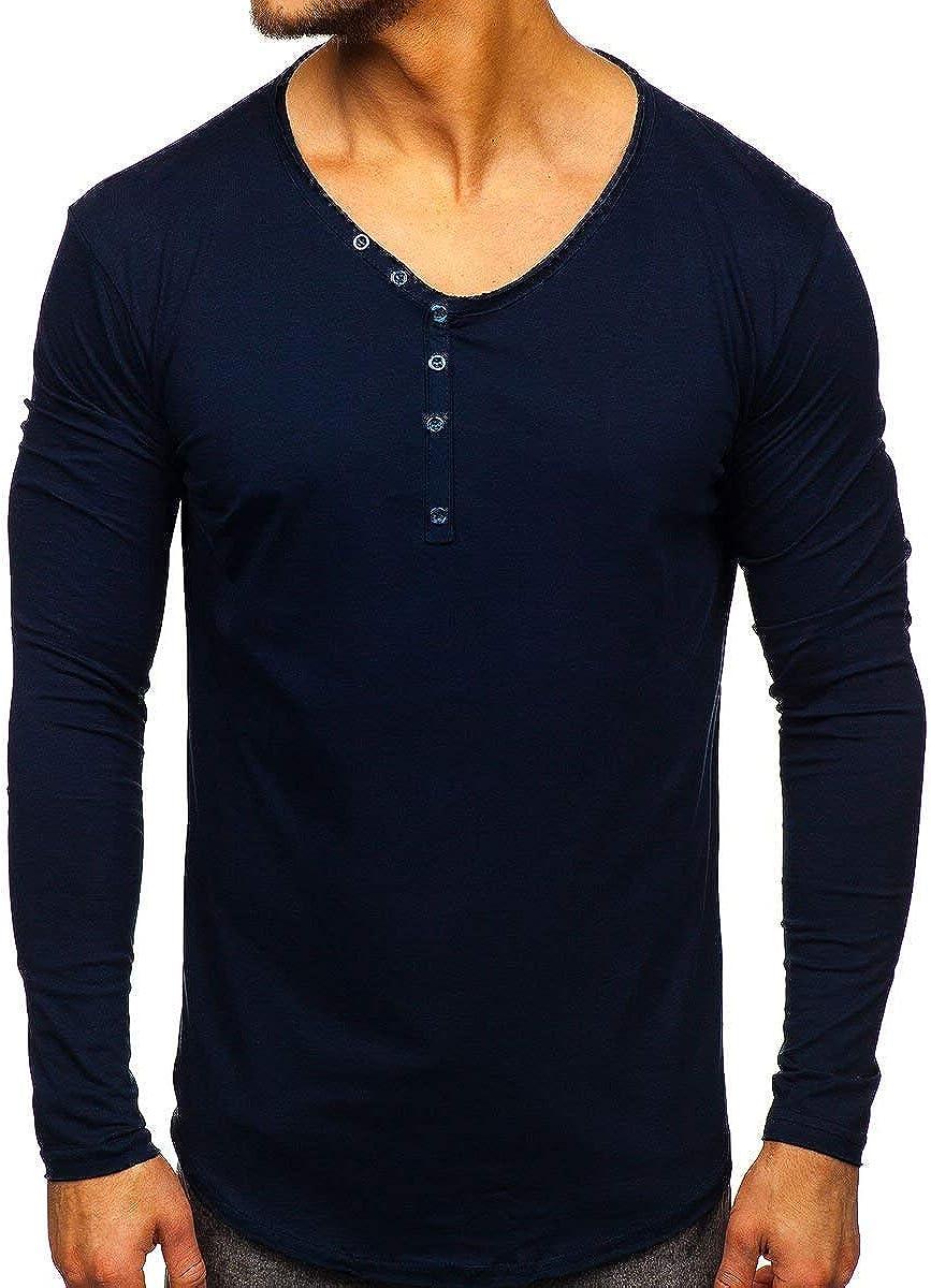 Herrenmode Langarm T-Shirts Figurbetont M-3XL V-Ausschnitt Sweatshirt Pulli XL B