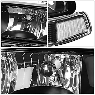 DNA Motoring Black clear HL-OH-S10984P-BK-CL1 Headlight Assembly (Driver & Passenger Side): Automotive