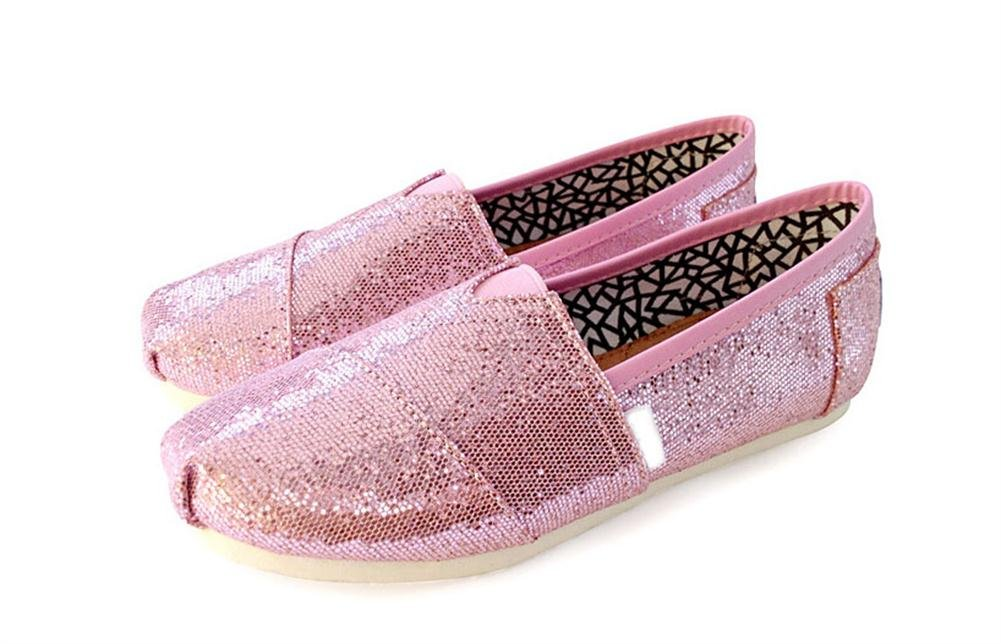 Playworld Womens Classic Sequin Slip On Shoes Ballerina Ballet Flats Loafers B01BS5055K 7.5 B(M) US|Pink