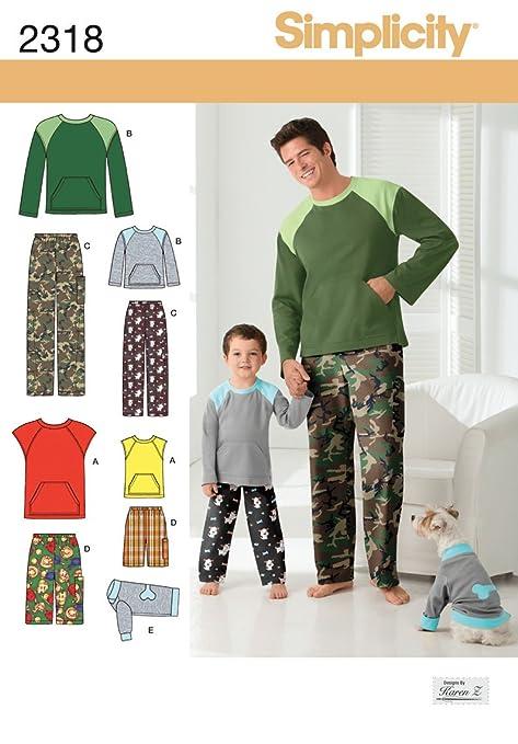 Simplicity 2318 - Patrones de costura para pantalones de niño y hombre y para ropa de