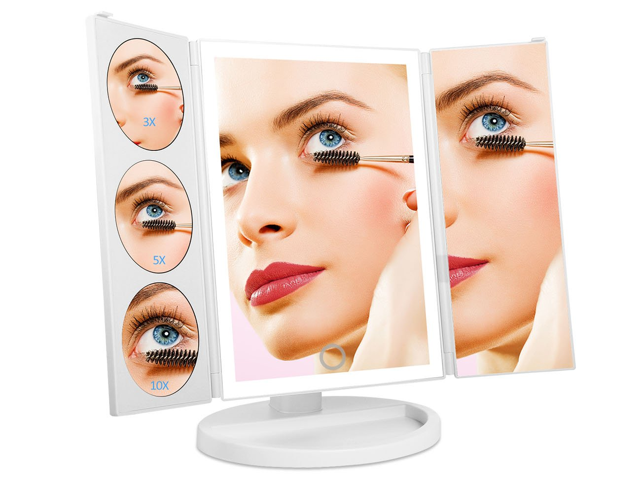 Makeup Vanity Mirror II Oversized by LIANPENG with 38pcs LED Lights High Brightness, 3 x 5x 10x Magnification Sections Lighted Mirror with Sensor Brightness Control, 180° Rotatable,Perfect Gift(White)