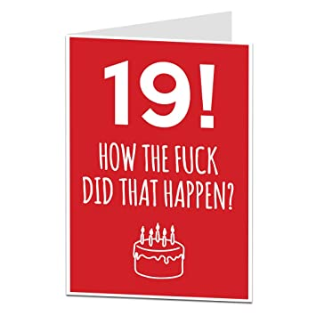 19th Birthday Cards Funny Blank Inside For Your Own Personal Message Professionally Printed Additional Ages Available