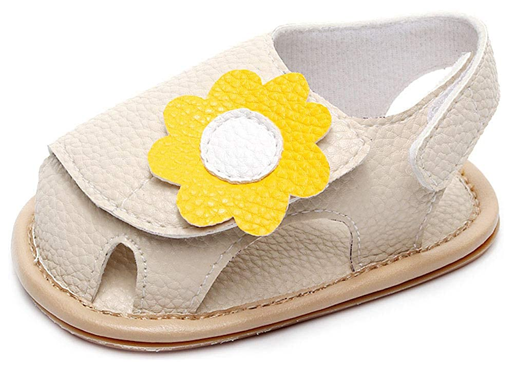Yunten Infant Baby Girls Summer Sandals PU Leather Flowers Closed-Toe First Walker Crib Shoe