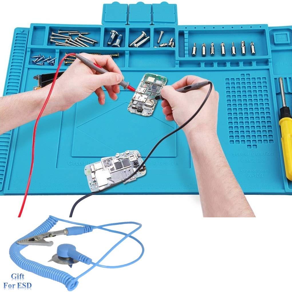Anti-Static Insulation Silicone Soldering Mat Welding Pad Repair Tool Kit Heat-resistant Magnetic Soldering Station for BGA Soldering Iron, Phone Watch Repair 500℃(17.71in11.81in0.23in,bule) by Xrime