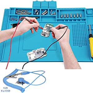 Anti-Static Insulation Silicone Soldering Mat Welding Pad Repair Tool Kit Heat-resistant Magnetic Soldering Station for BGA Soldering Iron, Phone Watch Repair 500℃(17.71in11.81in0.23in,bule)