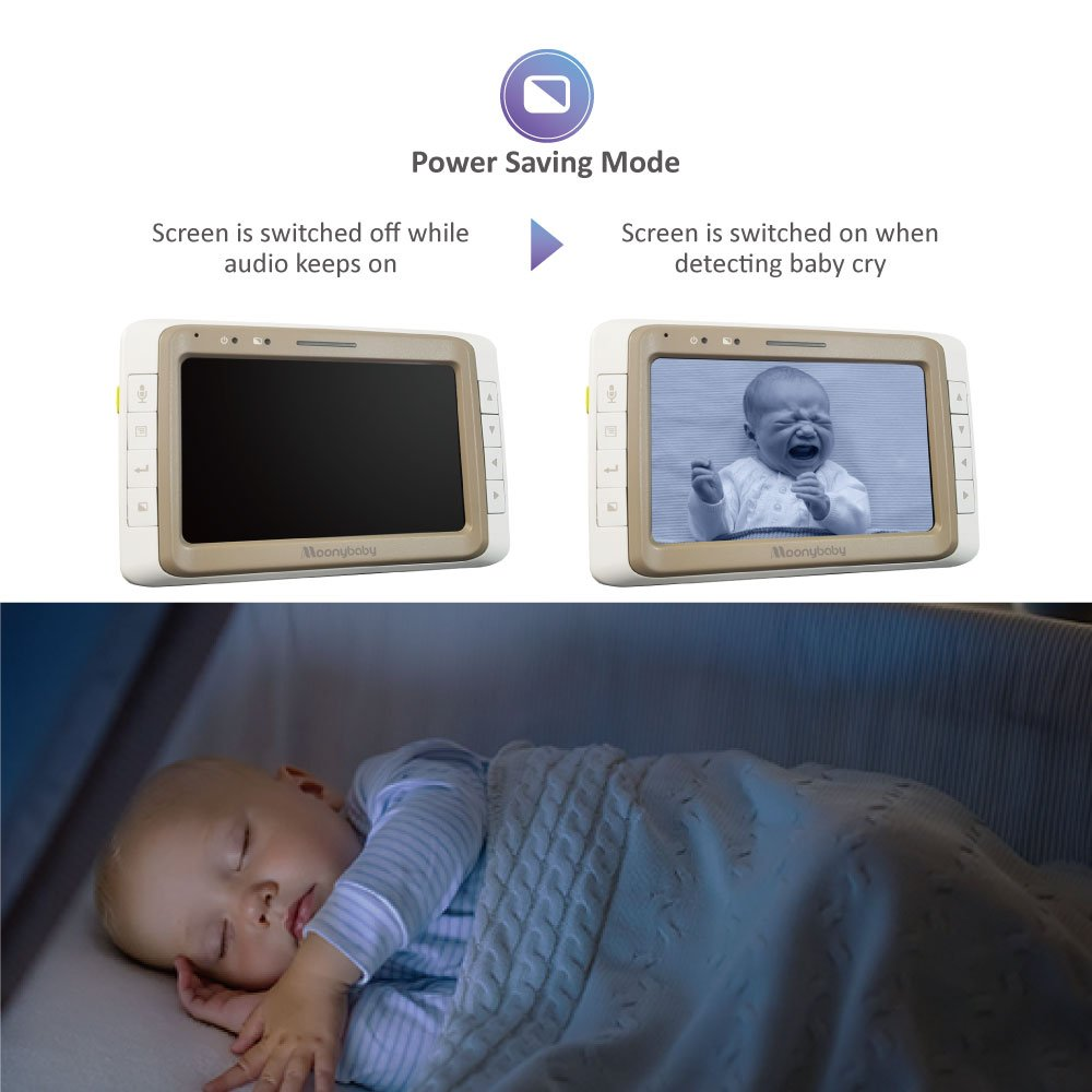 MoonyBaby Baby Monitor with 2 Cameras Split Screen, Wide View, 5 Inches LCD Video, Long Range, Automatic Night Vision, Temperature Monitoring, 2 Way Talk Back, Power Saving, High Capacity Battery by moonybaby (Image #5)