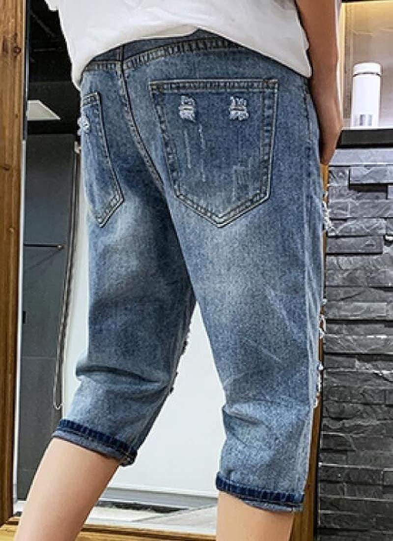 Beloved Mens Summer Fashion Cotton Light Weight Brush Denim Shorts
