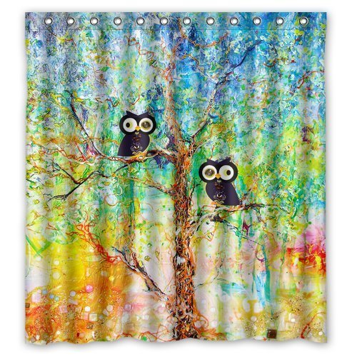 Bright Colorful Painting Tree Of Life And Owl Waterproof Bathroom Fabric Shower CurtainBathroom Decor