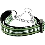 Mirage Pet Products Martingale Preppy Stripes Nylon Ribbon Collars, Medium, Green/White