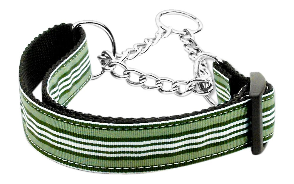 Dog   Cat   Pet Charms Preppy Stripes Nylon Ribbon Collars Martingale Green White Medium