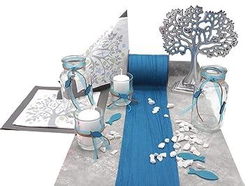 Zauberdeko Tischdeko Kommunion Konfirmation Petrol Blau Grau Baum