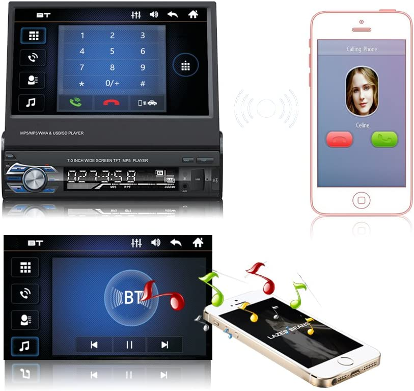 Ezonetronics Indash Autoradio 7 Pulgadas Deslizamiento hacia Abajo 1DIN desplegable Pantalla Coche est/éreo FM Solamente Bluetooth MP3 MP4 Player con USB//SD Puerto Control Remoto 9601
