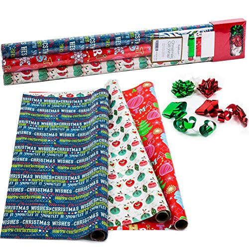 10' Metallic Bow (Christmas Wrapping Paper - Holiday Gift Wrap - Premium Gift Wrap in 3 Festive Styles - 2.5 ft x 10 ft in Each Roll, Includes 3 Rolls, 3 Bows and 2 Rolls of Ribbon- Tablesto)