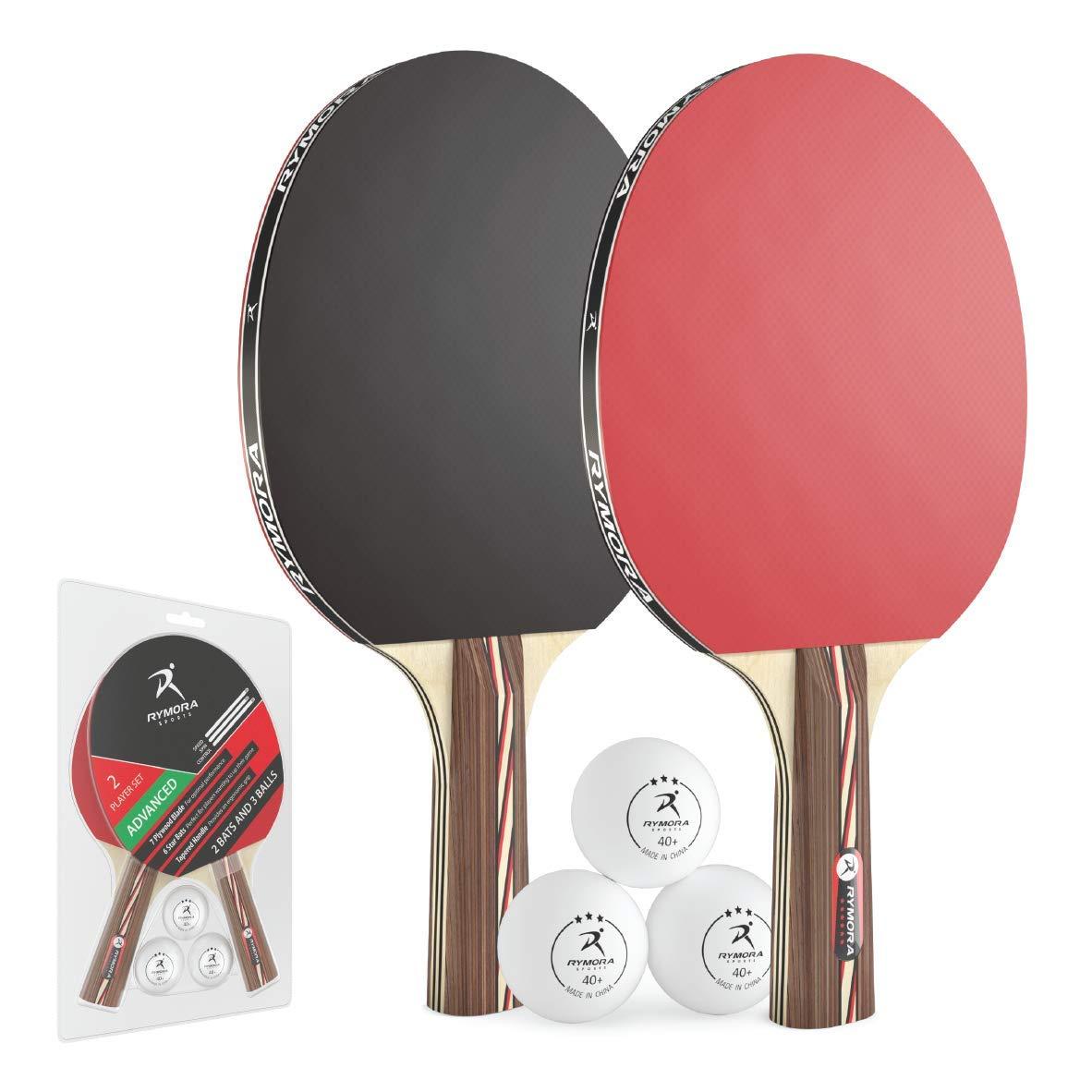 Rymora卓球セットコウモリとボール(2プレーヤー用卓球台用に2コウモリと3ボール)(上級者用セット:6つ星のラケットと3つ星のボール)   B07JCKMTB1