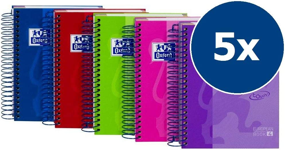 Oxford Touch - Pack de 5 cuadernos espiral de tapa extradura, 8º: Amazon.es: Oficina y papelería