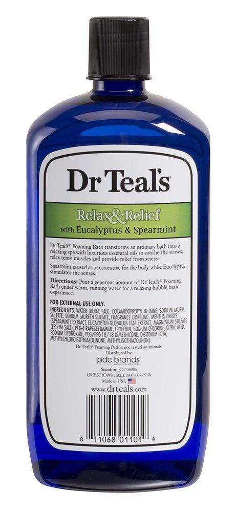 Dr Teal's - Baño de espuma con sal pura de Epsom, relajación y alivio con eucalipto y hierbabuena - 1 litro 04101-12P