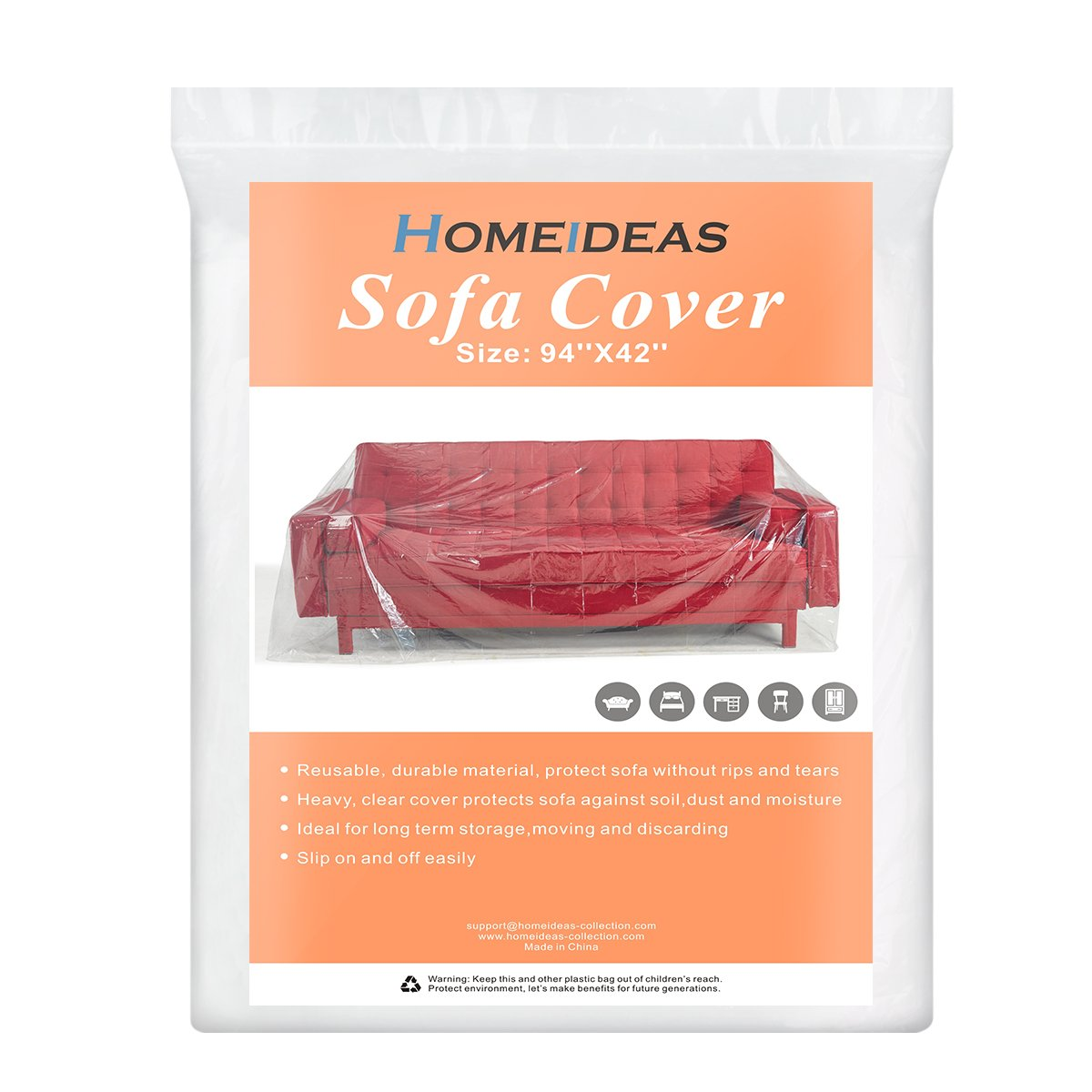 HOMEIDEAS 5 Mil Extra Thick Clear Sofa/Furniture Cover for Moving & Long Term Storage, Tear Resistant, Fits 94''x 42''