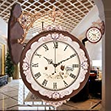 Jedfild Double-sided wall clock continental idyllic modern living room ideas modern luxury style mute double-sided Wall Clock, Brown