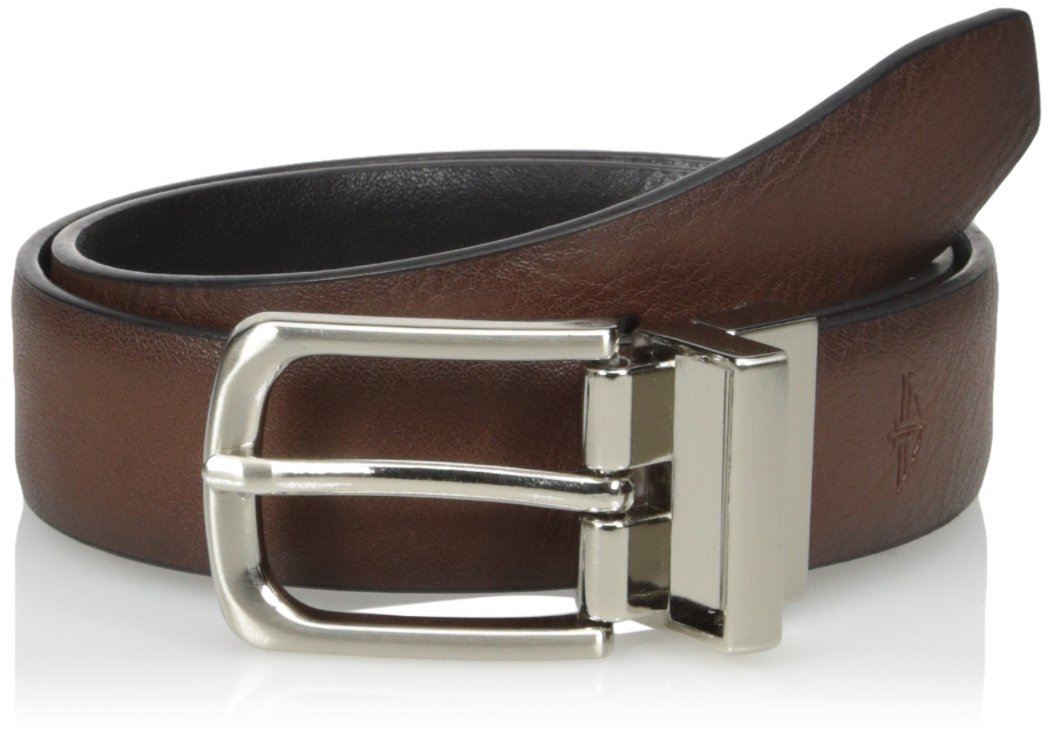 Dockers Big Boys Feathered Edge Belt with Embossed Logo, Brown/Black, Medium