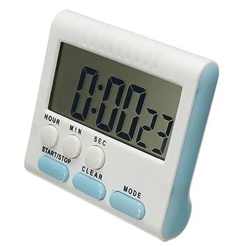 Hinmay - Temporizador de cocina digital magnético, 24 horas, temporizador de reloj con temporizador de cocina, cuenta hacia abajo, rosa/blanco (azul) ...