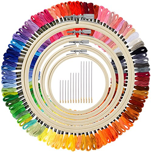 Paxcoo 100 Skeins Embroidery Thread Floss Cross Stitch with Bamboo Embroidery Hoops and Needles