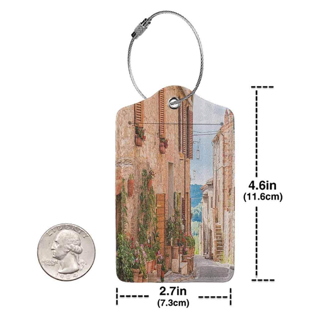 Personalized luggage tag Wanderlust Decor Medieval Old Town in Tuscany Mediterranean Historic High Culture Village Rustic Stones Photo Easy to carry Tan W2.7 x L4.6