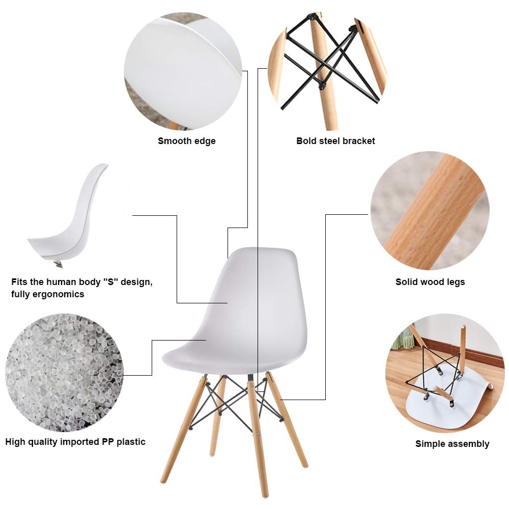 Mid Century Modern Eames Style White armless PP Plastic Chair Set of 2 Side Chair with Beech Wood Leg for Kitchen, Office Dining, Coffee Shop,Living Room to Easy Assemble and Clean White PP 2pcs