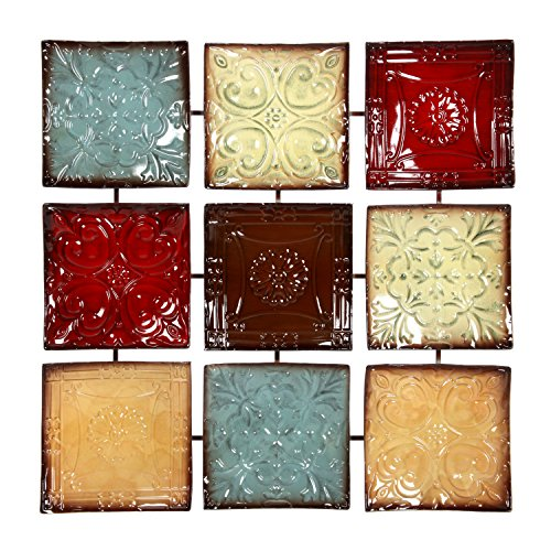 "Hosley 24.75"" Square Multi Colored Metal Wall Decor Plaque."