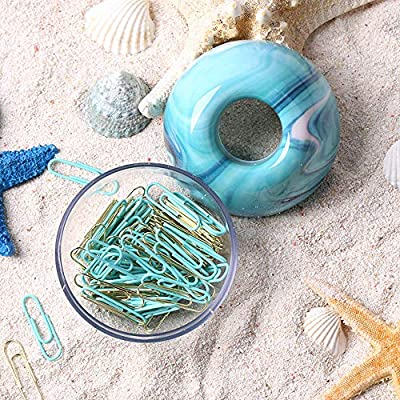 MultiBey Ocean Blue Paper Clip Holder Dispensers Gold Mint Green Paper Clips S Home Office Organizers Gifts, 100 Clips per Box
