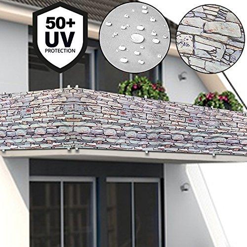 Telo di protezione per il balcone Copertura per terrazzo - 5 m - design effetto pietra Deuba