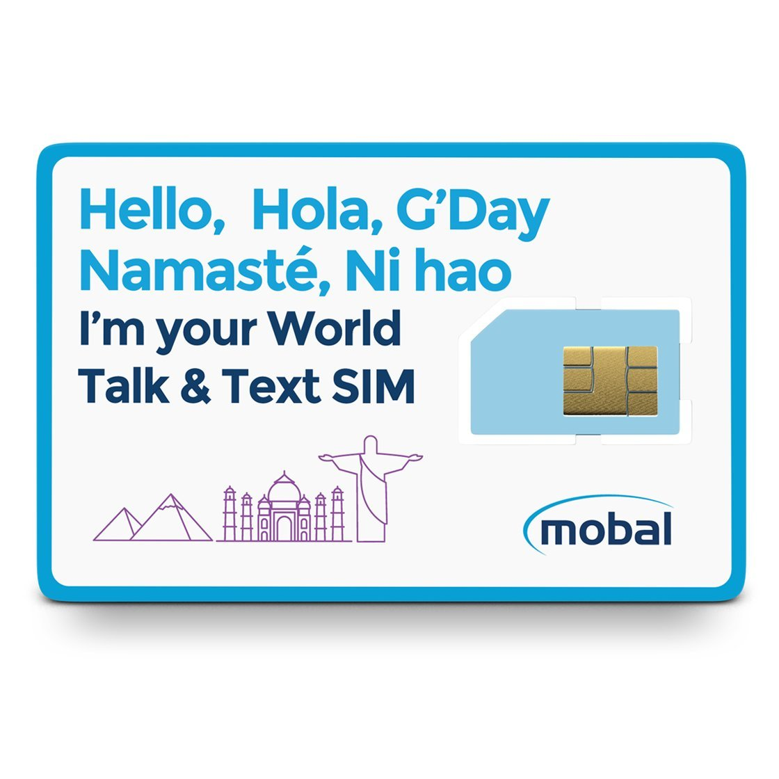 Mobal World Talk and Text SIM Card, Works in Over 190 Countries, No Monthly Fees, No Minimum Usage, No Contract
